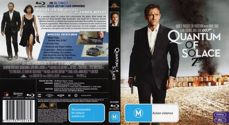 James Bond 007 : Quantum of Solace (2008) ~ Movie Cover Quantum Of Solace Cover