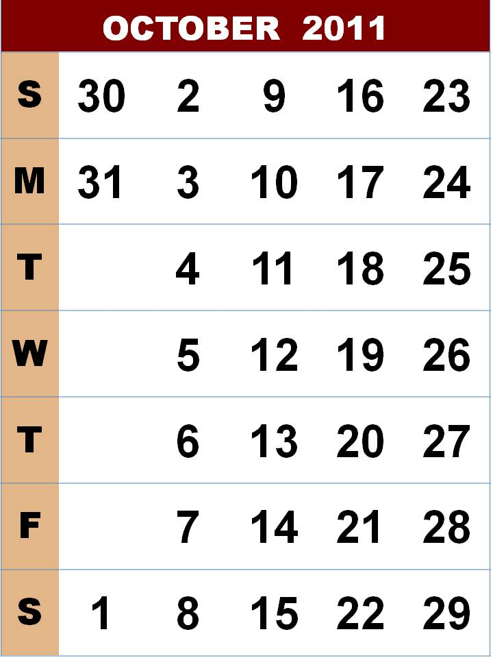 october 2011 calendar template. OCTOBER 2011 CALENDAR TEMPLATE