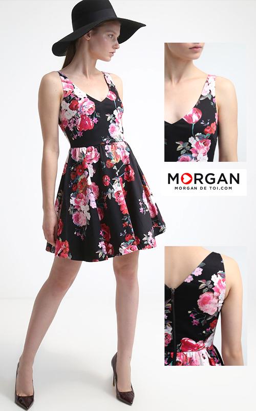 Robe courte d'été noire à fleurs Morgan