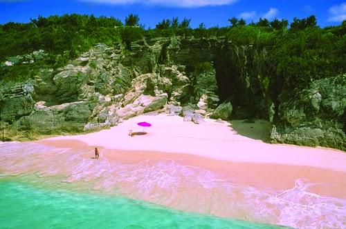Playa rosada de Bahamas