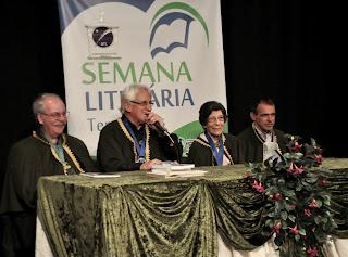 Jorge Dodaro, presidente do Elos Clube, Delmo Ferreira, presidente da ATL, Alice Nunes e Secretário Wanderley Peres