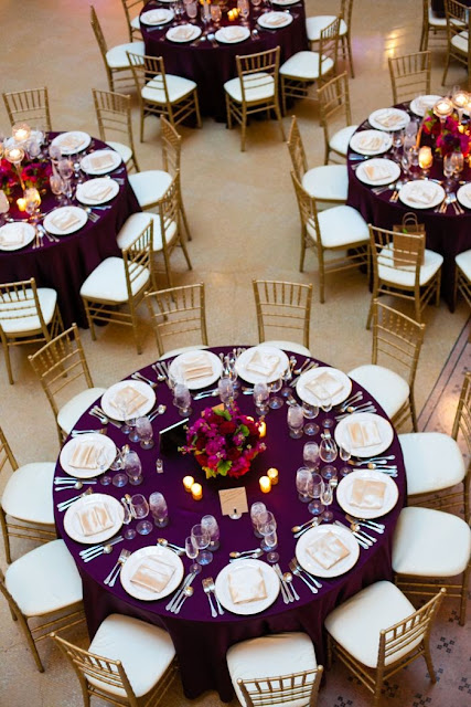 plum and gold wedding reception