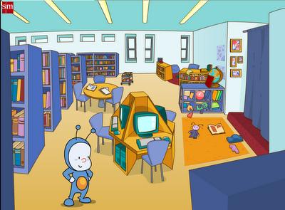 Pupi en la biblioteca