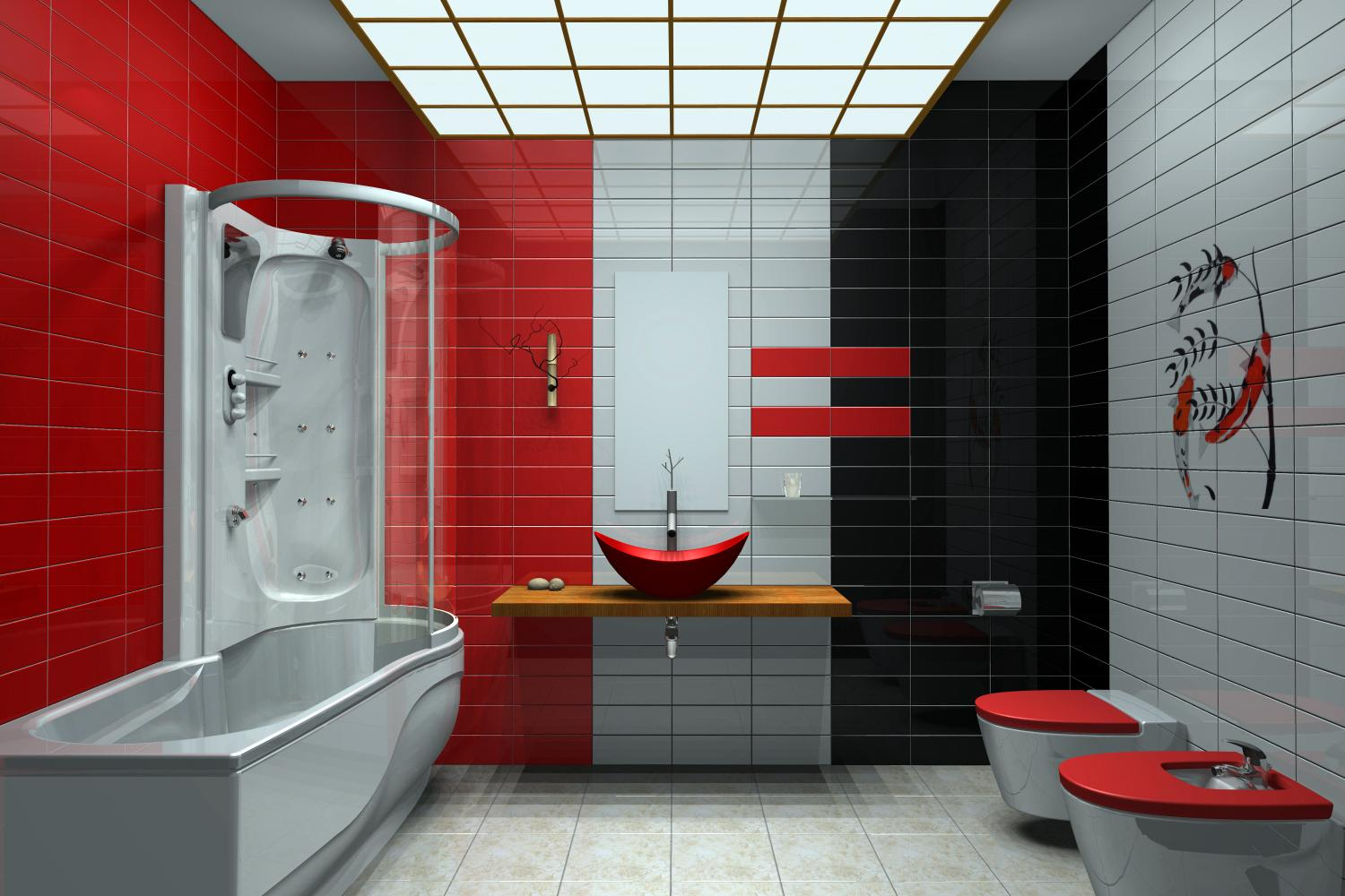 Modern Bathrooms with 3 colors tiled Light Gray , Black and Red a nice ...