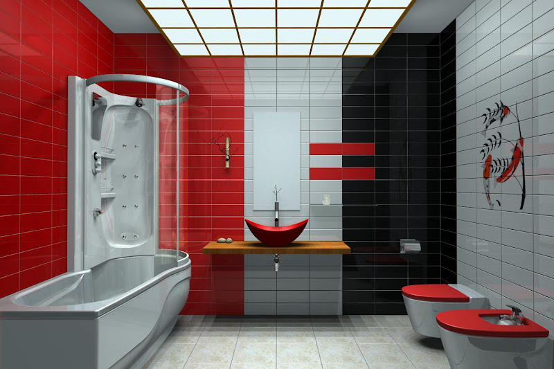 Modern Bathrooms with 3 colors tiled Light Gray , Black and Red a nice  title=