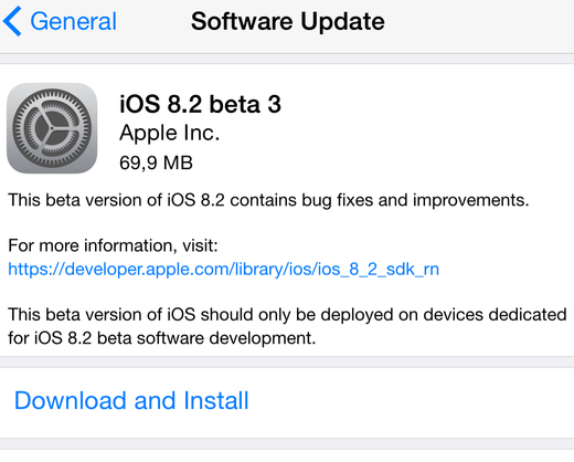 Apple iOS 8.2 Beta 3 OTA Firmware (Build-12D5452a)