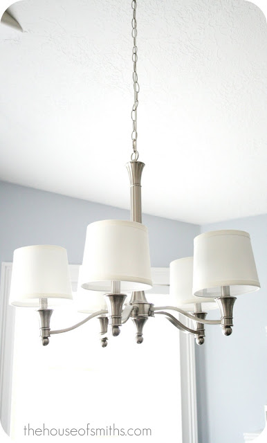 Diy shopping for installing new lighting fixtures last year we were found the perfect chandelier with small drum shades for over our kitchen table and it only cost us 9900 aloadofball Choice Image