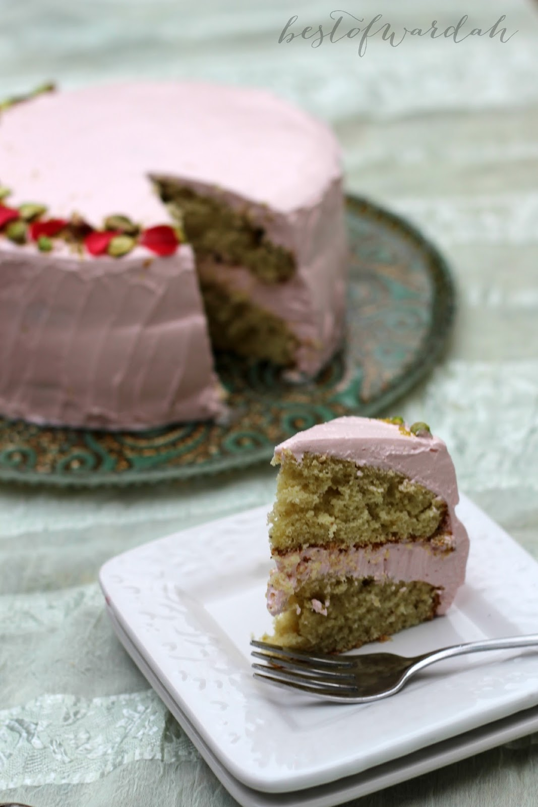 Best of Wardah: Pistachio Cardamom Cake with Rosewater Frosting