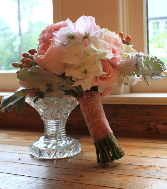 Bridesmaid bouquet - white hydrangea, Juliet roses, sweet peas, hypericum berry, and accents of dusty miller - Splendid Stems Floral Designs