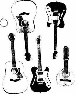 Instrumentos Musicais vetorizados violões e guitarras