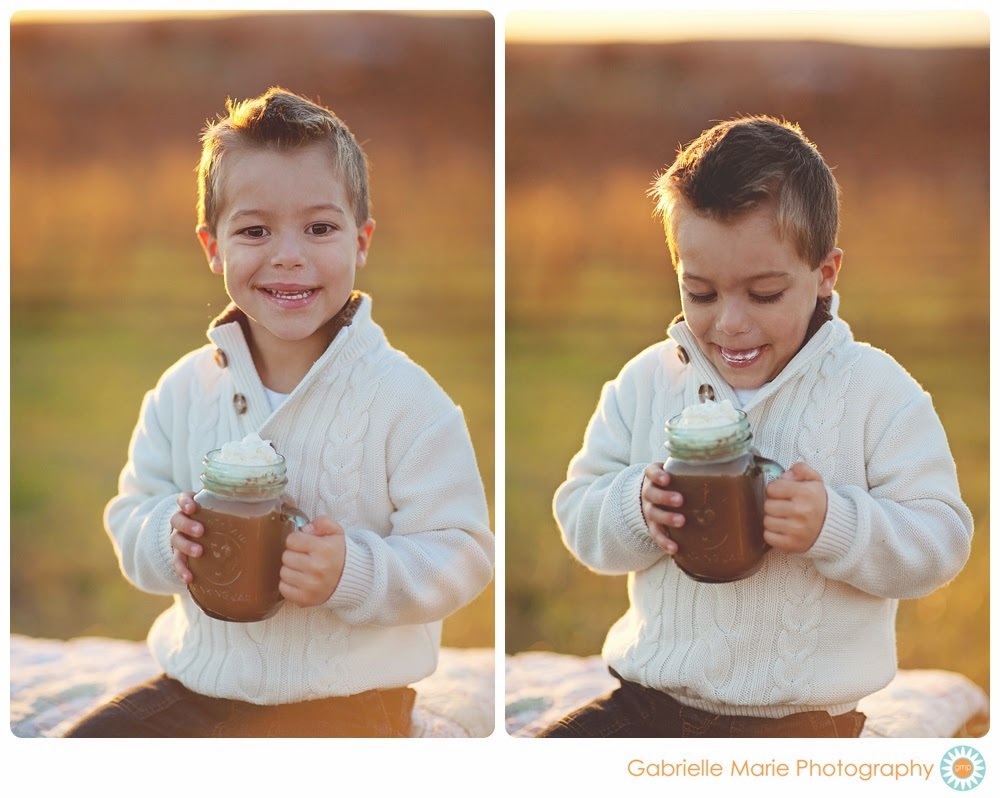 Little boy sips on hot chocolate with whipped cream while the sun sets behind him in the country - Best of 2013 Families, St. Louis MO