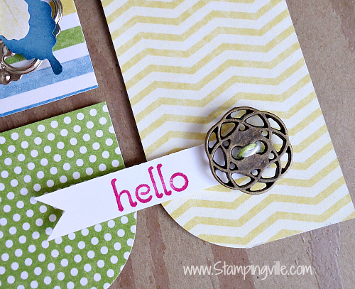 Hello sentiment with vintage style antique brass button