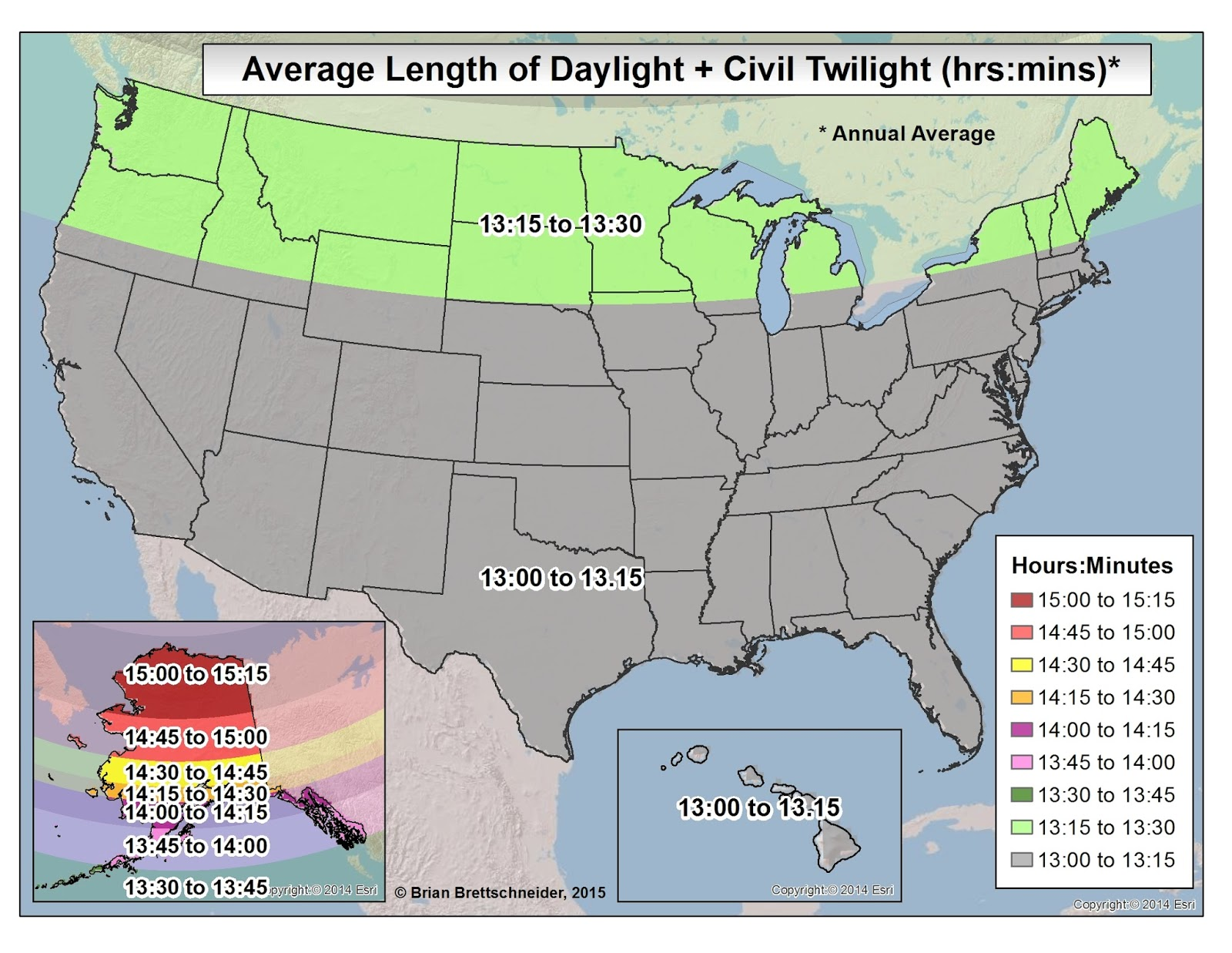 Brian bs climate blog daylight and twilight figure 5 average annual length of daylight plus civil twilight the average is for all 365 days of the year the map perspective is lower 48centric gumiabroncs Image collections