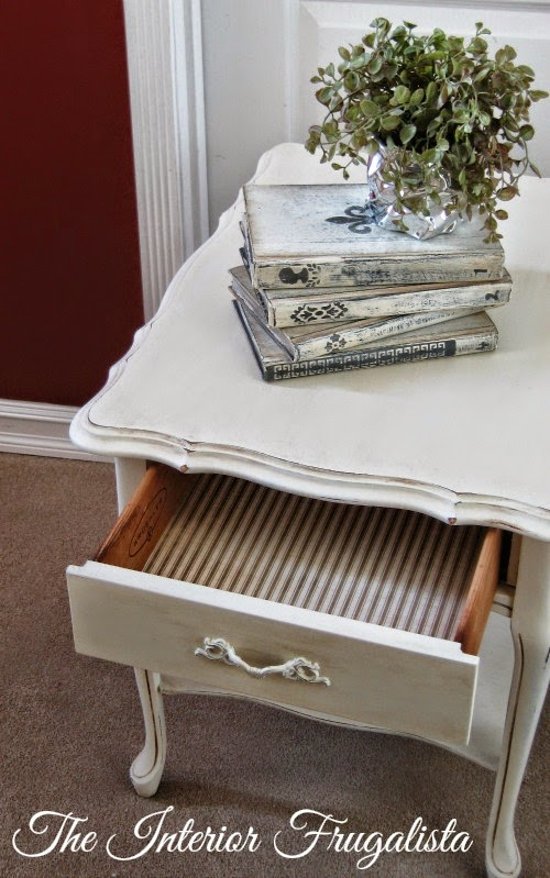 French Provincial side table makeover with lined drawer