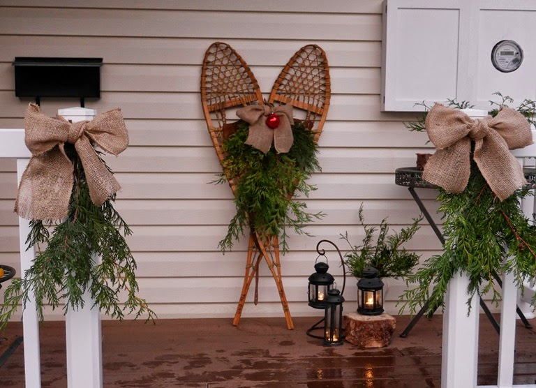 Fabric paper thread snowshoes on the porch for Acheter decoration noel