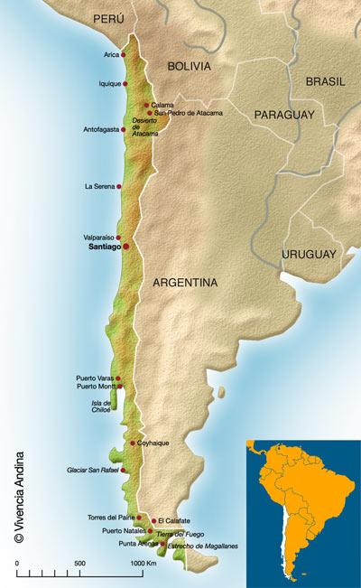 Mapa de chile en sur américa