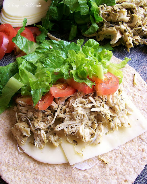 Slow Cooker Kuman Pesto Chicken Wraps