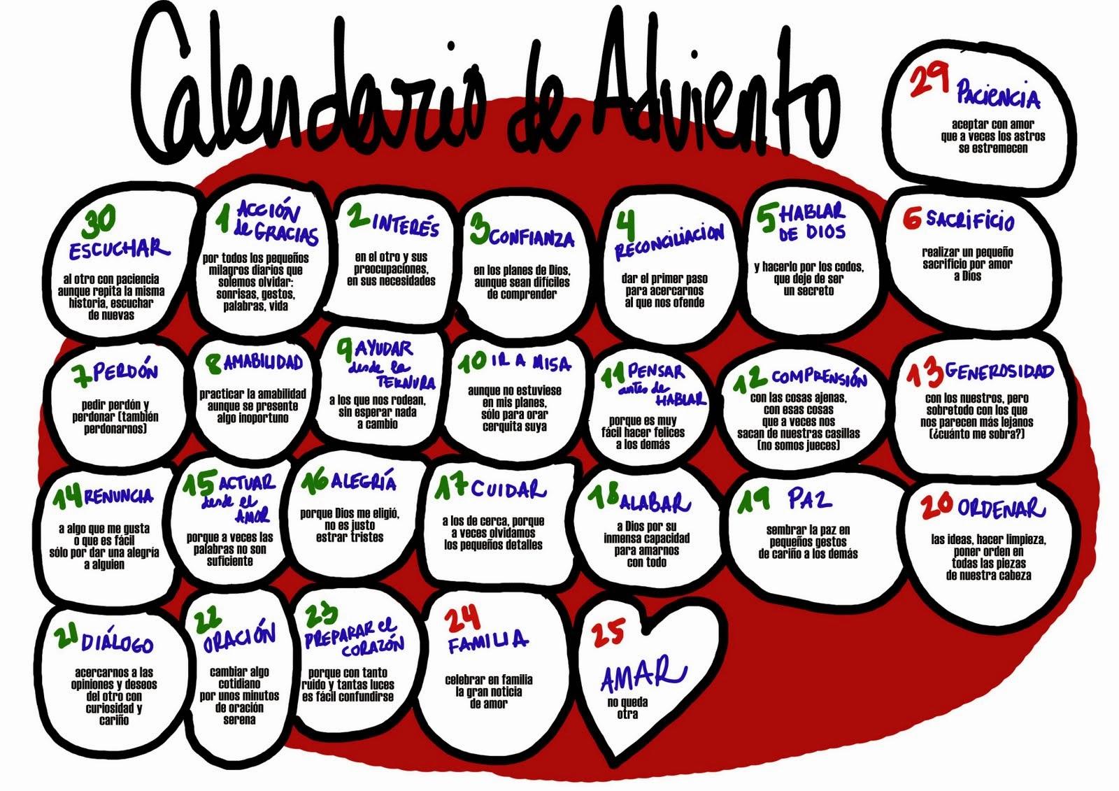 Actitud 100 adviento for Calendario adviento ninos