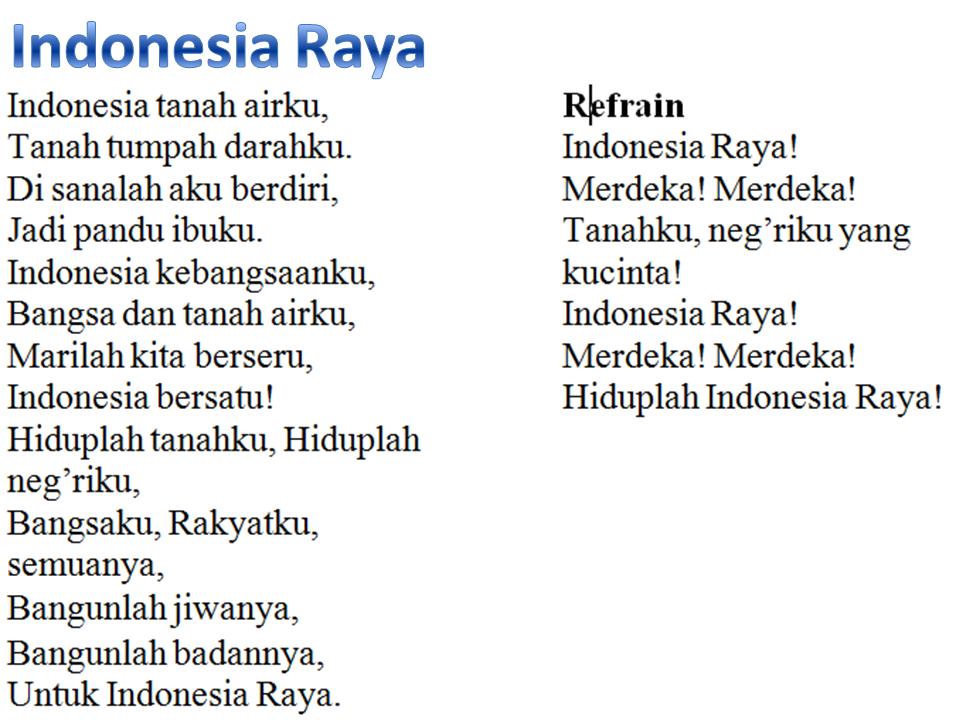 Haryoto Sungailiat Bangka Lirik Lagu Indonesia Raya