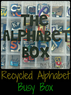 Recycled alphabet and number busy box for kids from And Next Comes L