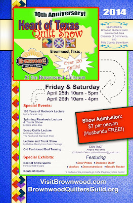 Come join us for the 2014 Heart of Texas Quilt Show April 25-26 at the Brownwood Coliseum
