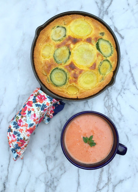 Veggie Skillet Cornbread Recipe- Perfect pretty vegetable packed side dish | www.jacolynmurphy