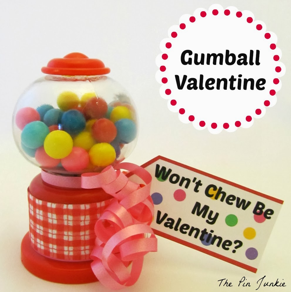 Valentine gumball machine with printable
