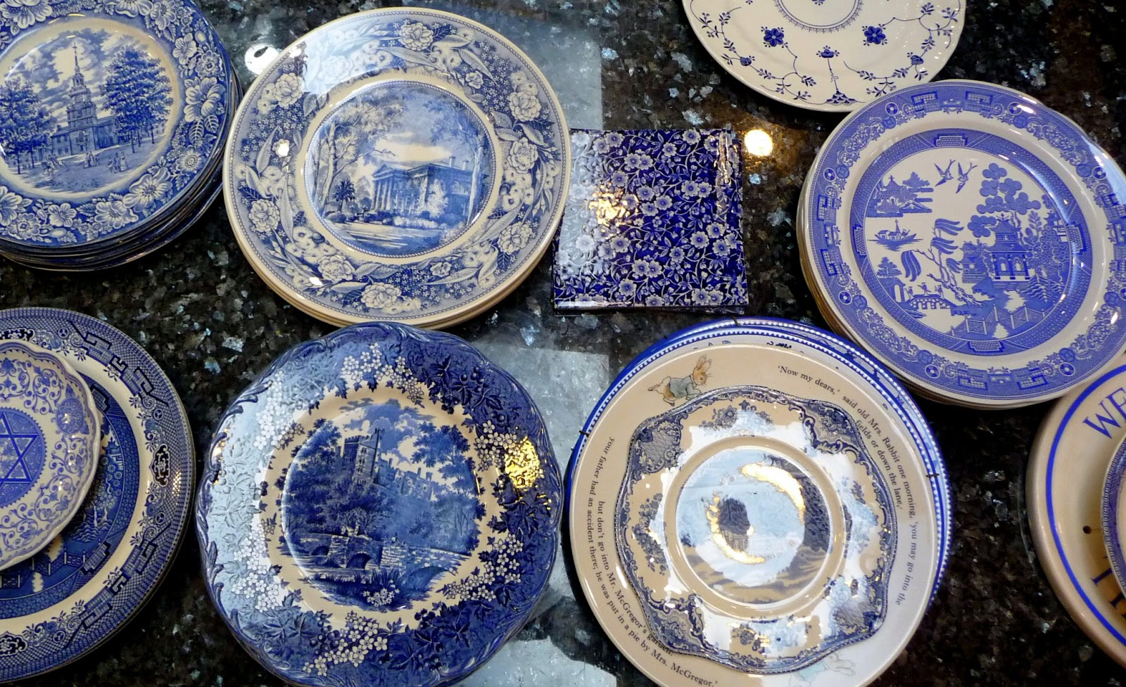 teapots and polka dots decorating with junk shop plates