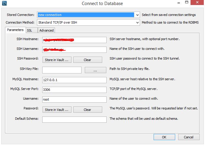 form to enter mysql connection details