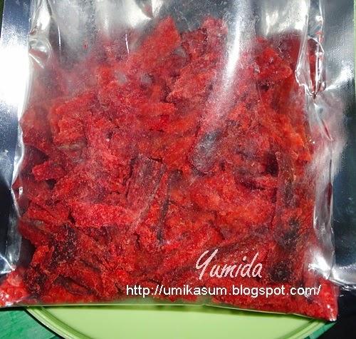 Ikan lumek salai kering merah pedas manis produk Pulau Bruit Sarawak, gambar dan harga ikan lumek kering merah, cara beli tempah order ikan lumek kering merah pedas manis, cara membuat memasak ikan lumek salai, resepi ikan lumek kering merah pedas manis