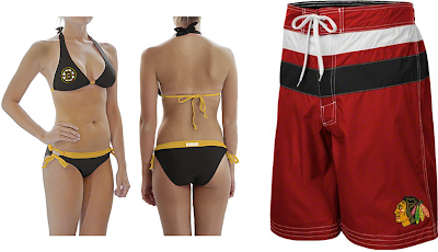Calhoun Boston Bruins NHL Women's Logo Bikini / Chicago Blackhawks NHL Black Striped Swim Trunks