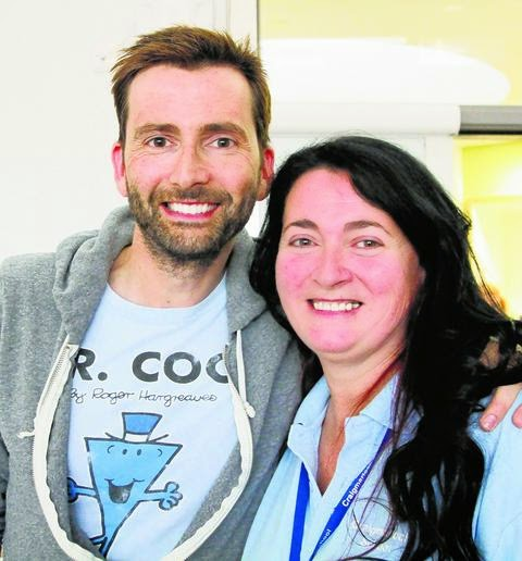David Tennant with his siter Karen at Craigmarloch School, Port Glasgow - Monday 17th November 2014