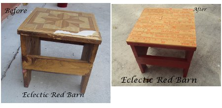 Eclectic Red Barn: Before and after on yardstick stool