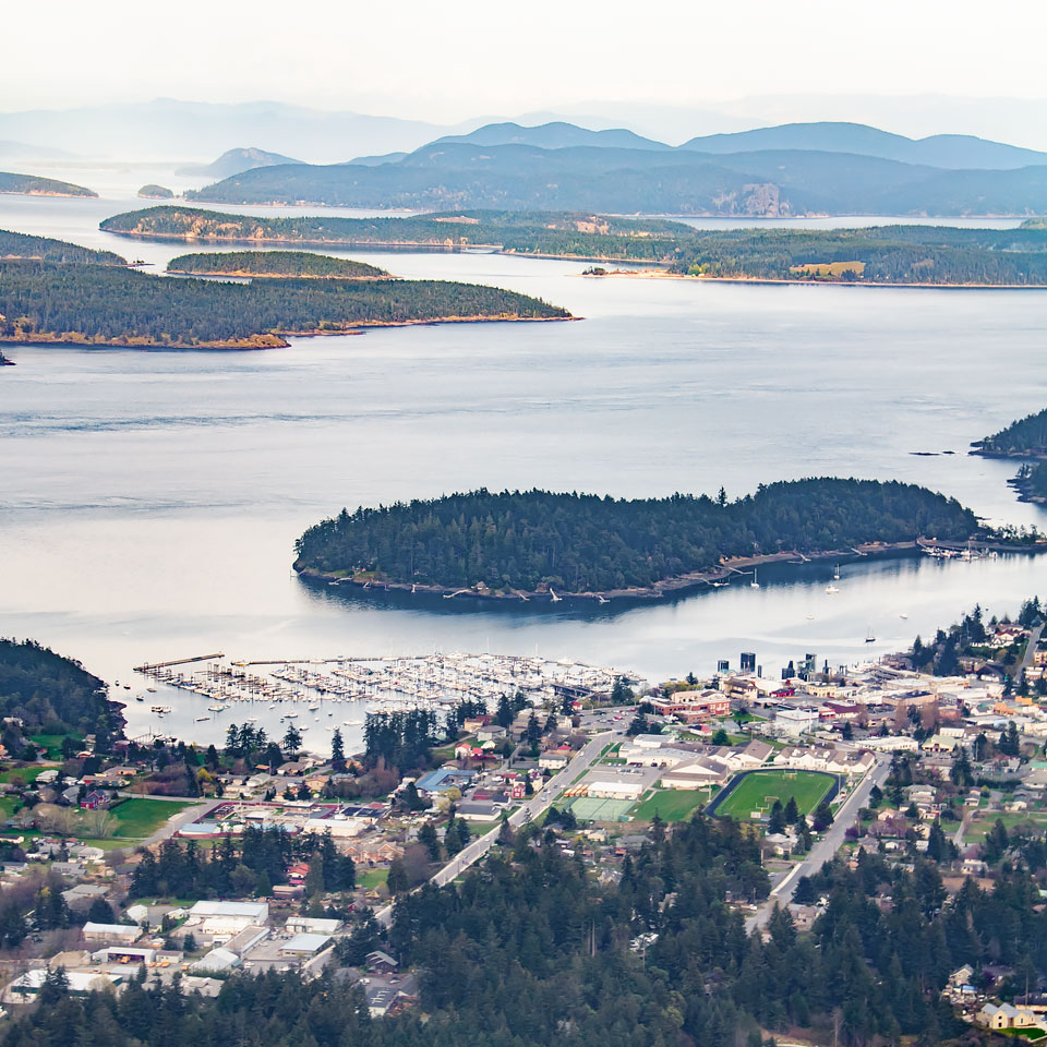 Aerial view of Friday Harbor and the San Juan Islands