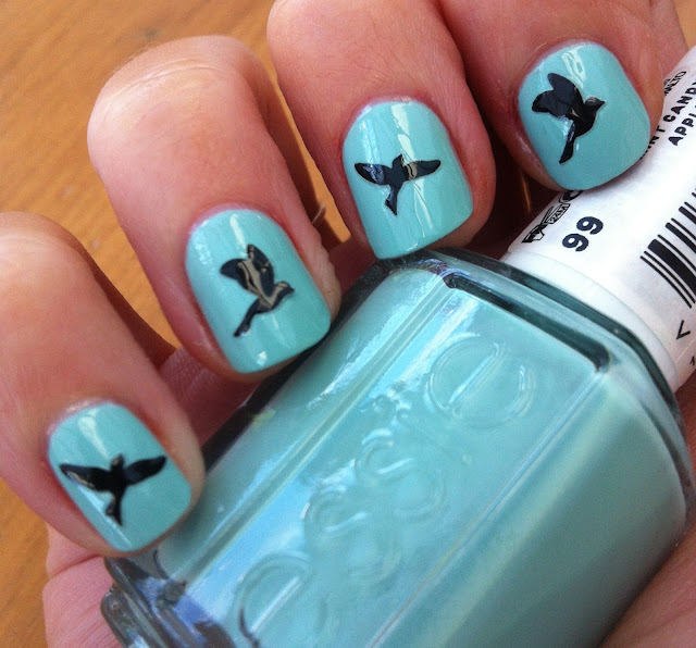 Blue Nail Art with Black Bird