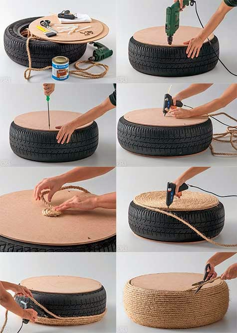 Como hacer un sillon con una llanta paso a paso ingeniando - Como forrar muebles con tela paso a paso ...