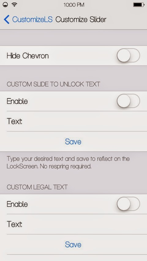 CustomizeLS Slider Settings