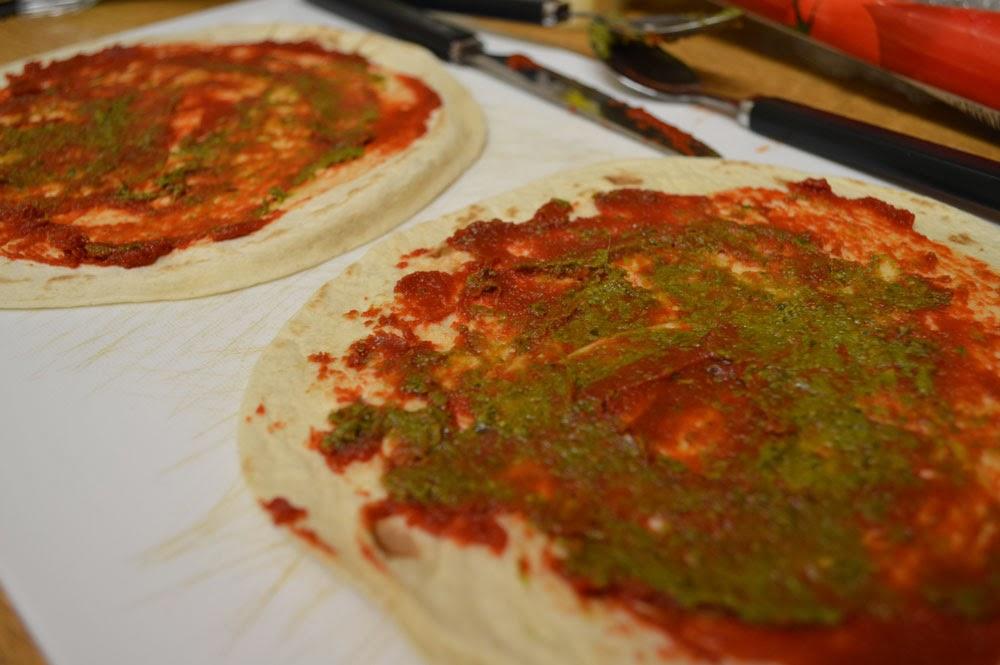 Pizza tortilla with pesto