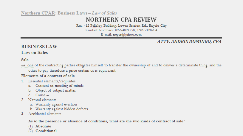 law on sales reviewer