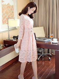 Pink/Gray Three Quarter Sleeve Belted Crochet Lace Flare Dress