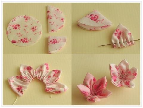 Coko broches flor de tela tutorial for A forma di disegni per la casa