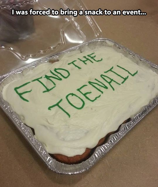 Find the Toenail, Cake Prank