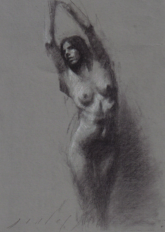 drawing charcoal Nude female
