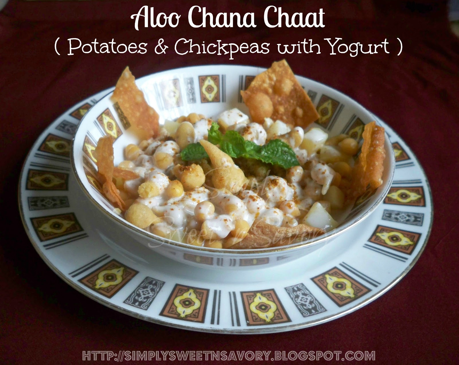 ... potatoes, boondi ( fried drops of gram-flour batter) with yogurt sauce