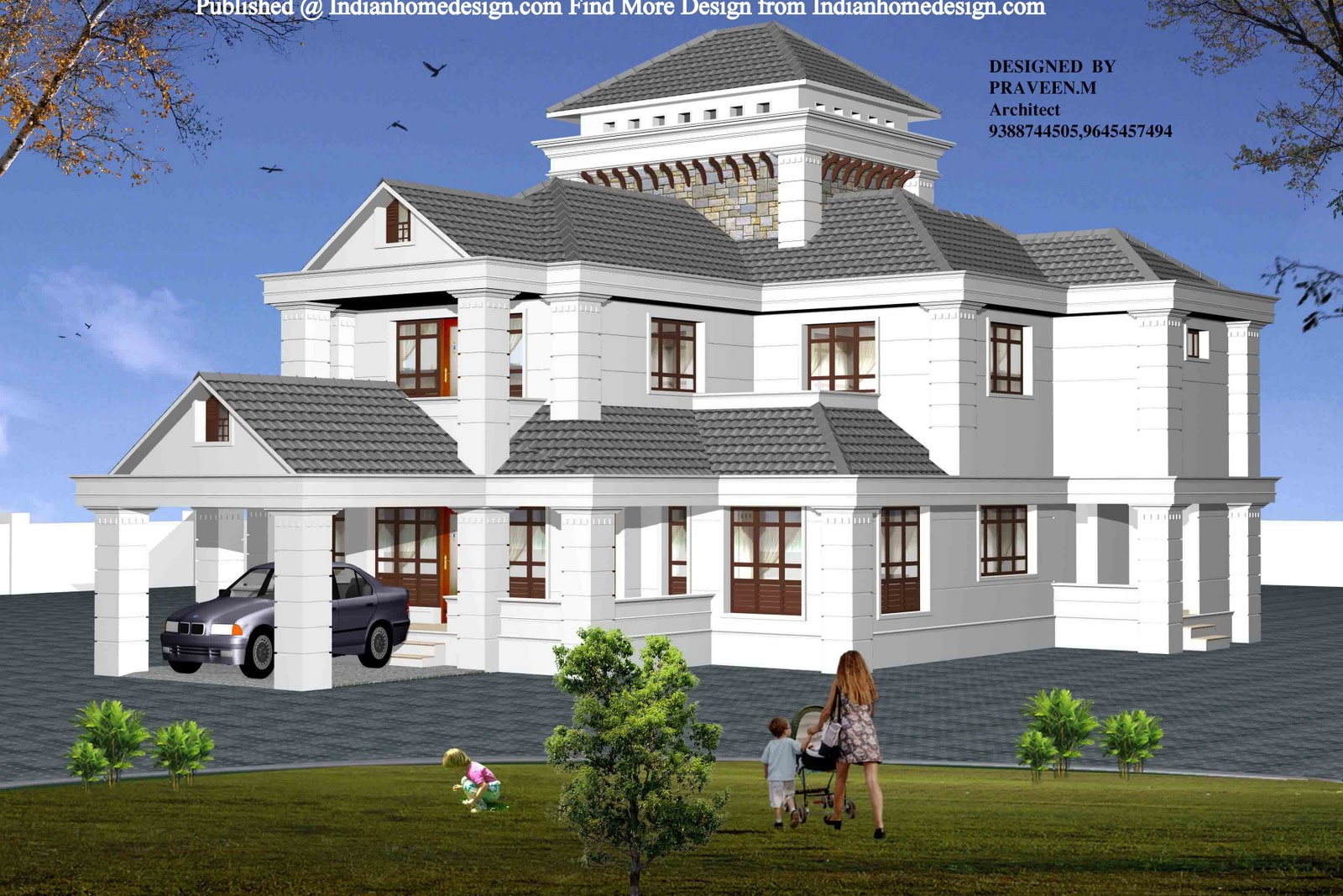 Beautiful house plans home design sqfeet beautiful flat for Beautiful house design images