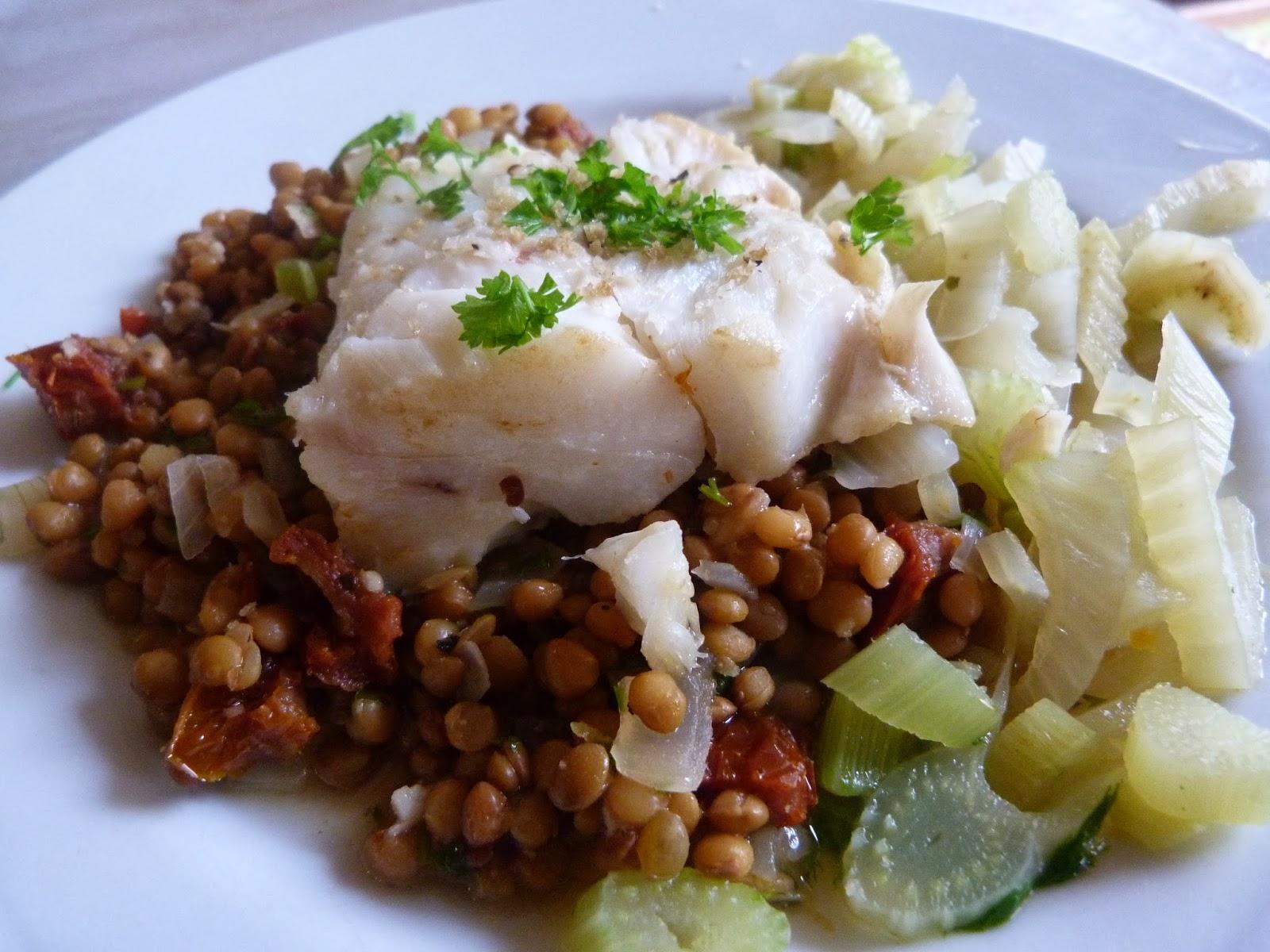 Au four et la moulinette un filet de poisson aux lentilles et au fenouil - Cuisiner le fenouil au four ...