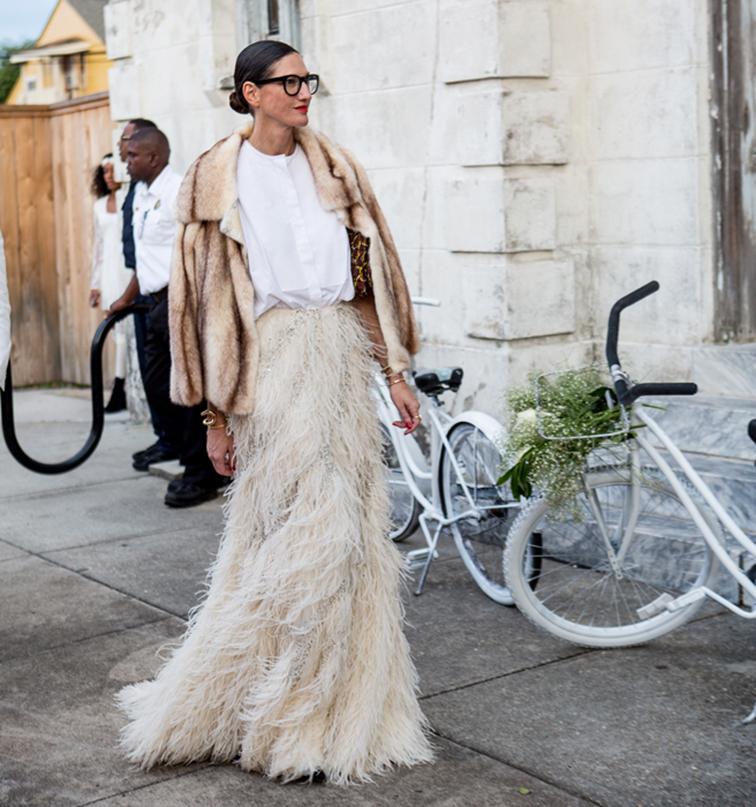 Jenna Lyons from JCrew, feather white skirt, street style, dynamite style