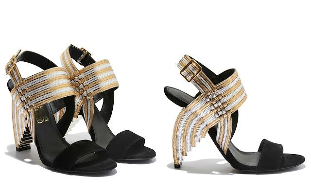 Salvatore Ferragamo black gold and silver Heel Sandals
