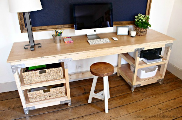 diy workbench style desk free plans