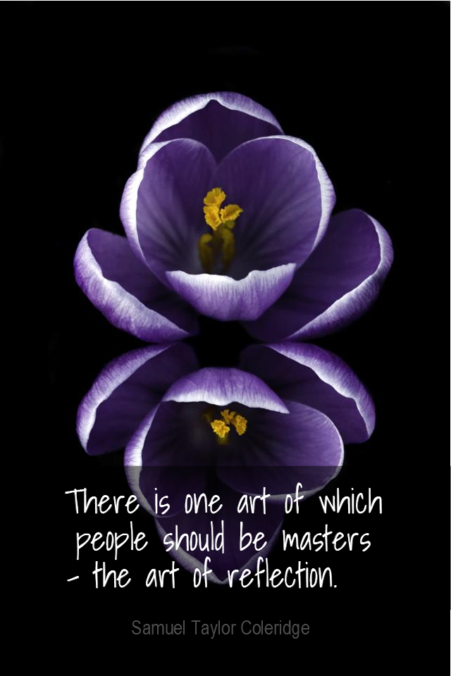 visual quote - image quotation for MEDITATION - There is one art of which people should be masters - the art of reflection. - Samuel Taylor Coleridge